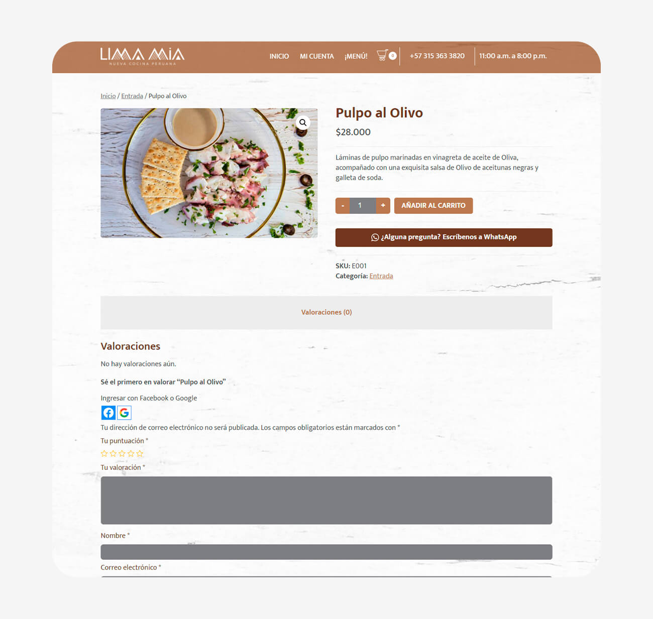 E-commerce comida