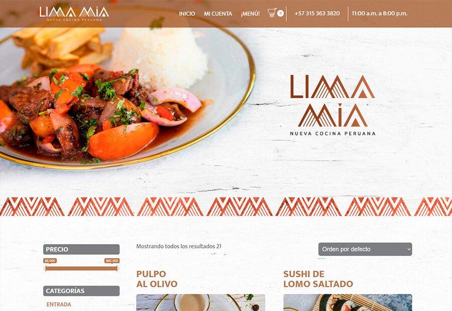 E-commerce restaurante LIMA MIA